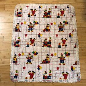 5/$25 SALE Vintage Clown and Polka Dots Blanket